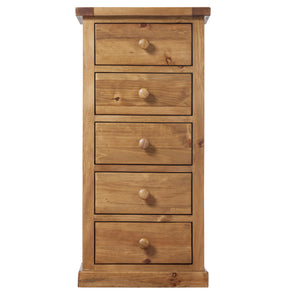 Wellington Pine 5 Drawer Wellington Chest - HomePlus Furniture