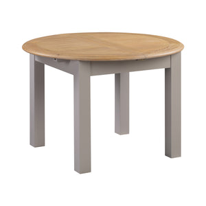 Oxford Painted Oak Round Extending Dining Table (1.1 m- 1.5 m) - Oxford Painted Oak - HomePlus Furniture