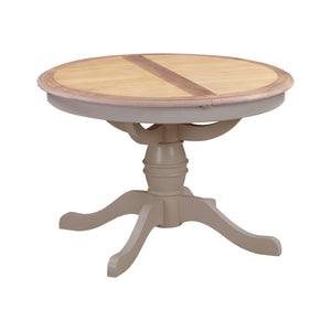Oxford Painted Oak Round Extending Pedestal Dining Table (1.1 m- 1.45 m) - HomePlus Furniture