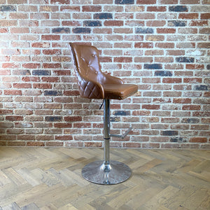 Newmarket Gas Lift Swivel Bar Stool | Tan - HomePlus Furniture