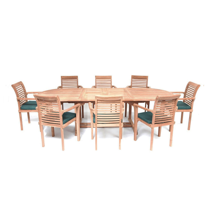 Teak Wooden Garden Oval Extending Dining Table & 8 Chairs Set - HomePlus Furniture