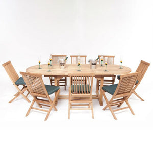 Teak Wooden Garden Oval Extending Dining Table & 8 Chairs Set - HomePlus Furniture - HomePlus Furniture