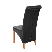 Rhiana Leather Button Back Dining Chair - Black