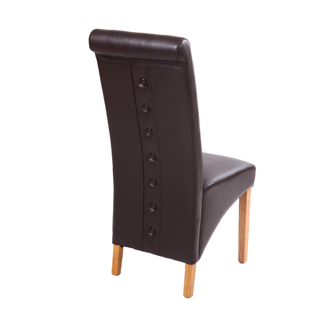 Rhianna Leather Button Back Dining Chair - Brown - HomePlus Furniture - HomePlus Furniture