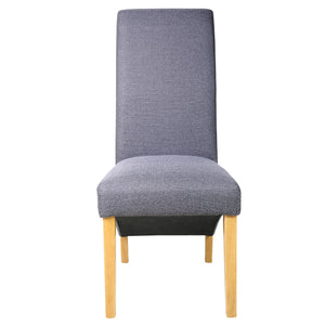 Rhianna Linen Button Back Dining Chair | Slate Blue - HomePlus Furniture