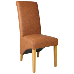 Rhianna Faux Leather Button Back Dining Chair | Tan - HomePlus Furniture - HomePlus Furniture
