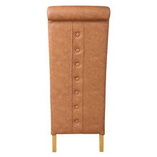 Rhianna Faux Leather Button Back Dining Chair | Tan - HomePlus Furniture