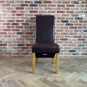 Rhianna Leather Button Back Dining Chair | Brown - HomePlus Furniture
