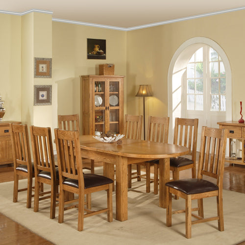 Rustic Canterbury Oak Extending Oval Dining Table