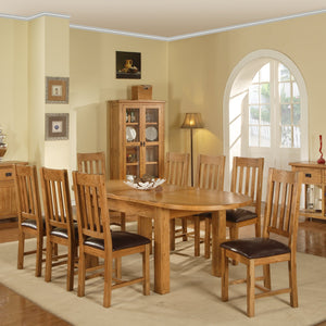 Rustic Canterbury Oak Extending Oval Dining Table - HomePlus Furniture