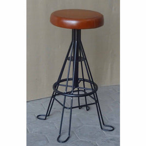 Industrial Leather & Metal Bar Stool