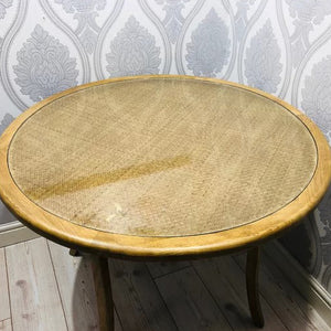 Natural Rattan Style Round Wooden Table - HomePlus Furniture