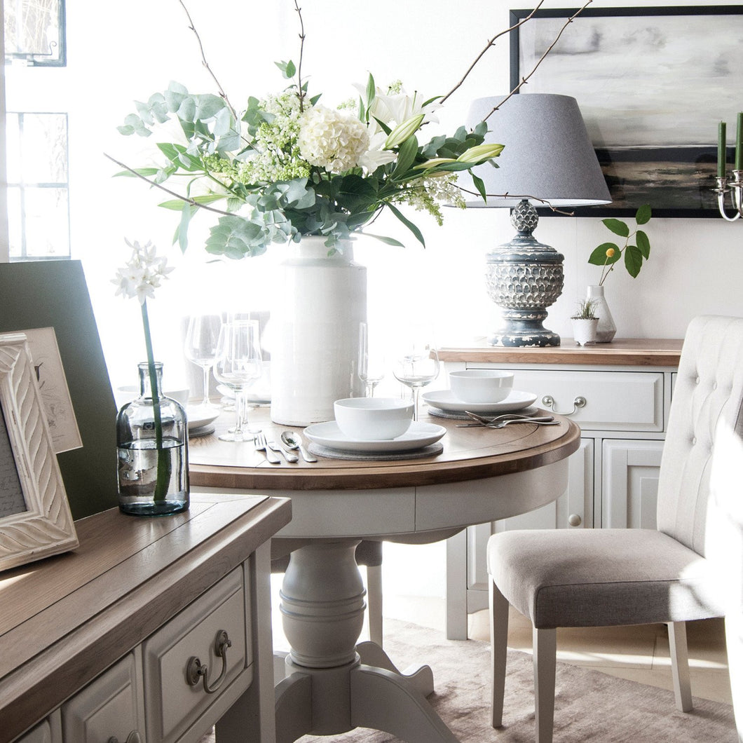 Georgia Grey Painted Oak Round Extending Dining Table