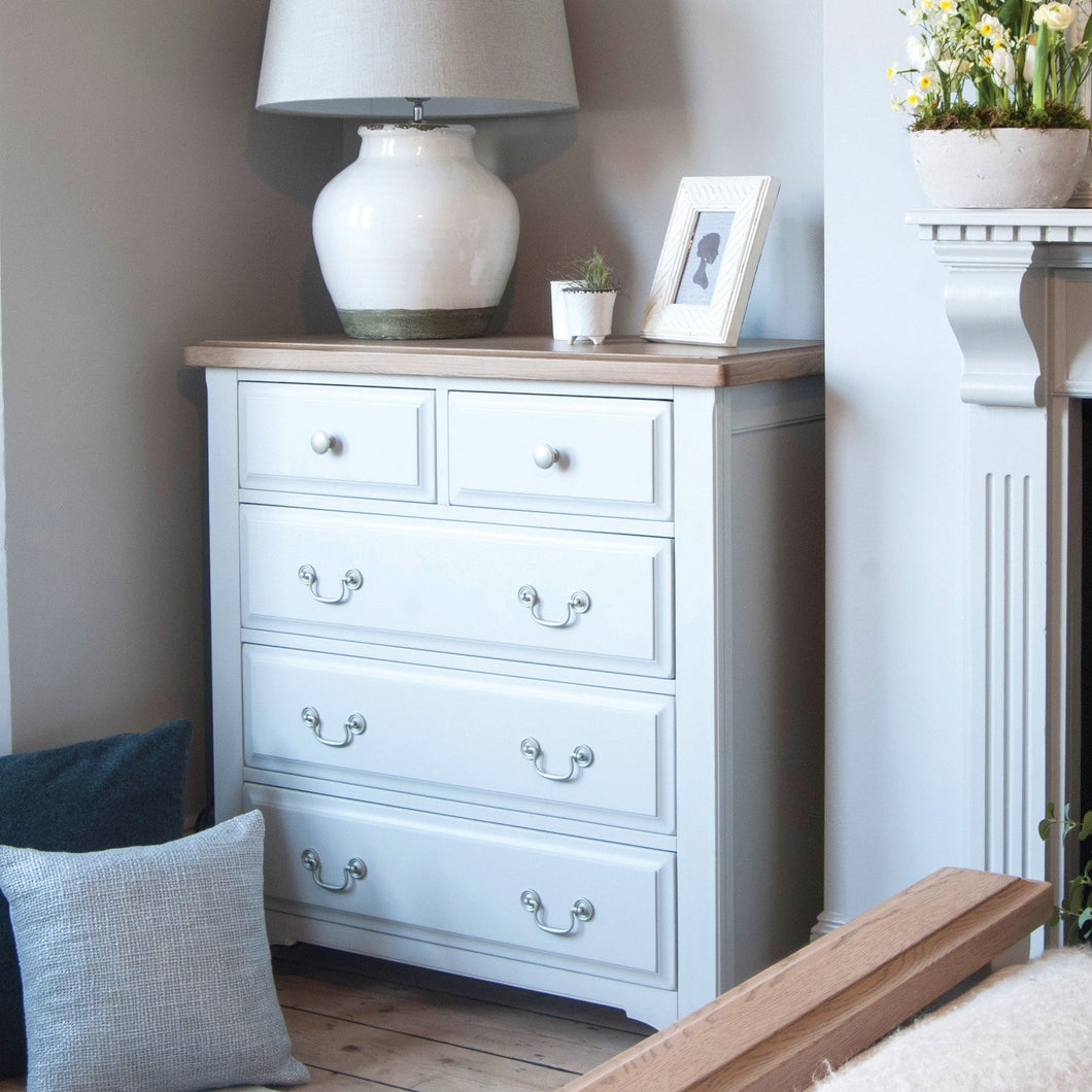 Georgia Grey Painted Oak 2 Over 3 Chest Of Drawers - HomePlus Furniture