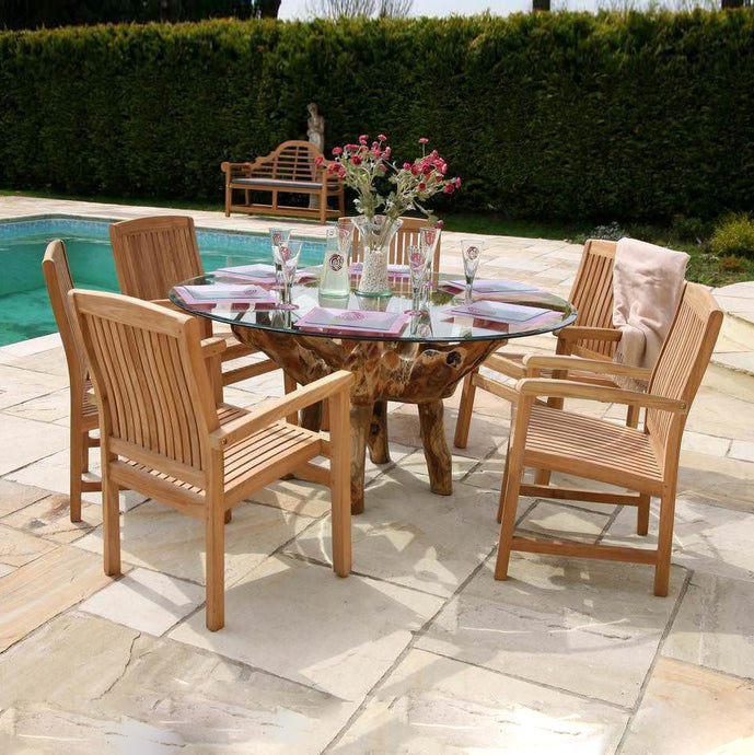 Teak Root Carving Table & 6 Garden Stacking Chairs Set | New - HomePlus Furniture