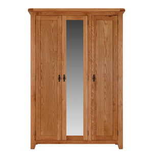 Cambridge Oak 3 Door Full Hanging Wardrobe - HomePlus Furniture
