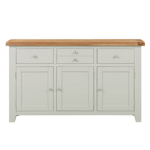 Cambridge Grey Painted Oak 3 Door 3 Drawer Sideboard