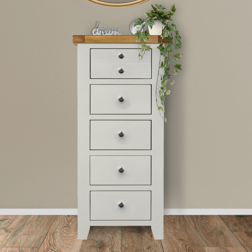 Cambridge Grey Painted Oak 5 Drawer Chest