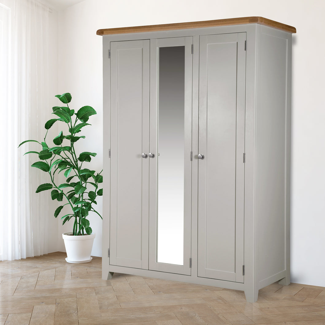 Cambridge Grey Painted Oak 3 Door Full Hanging Wardrobe