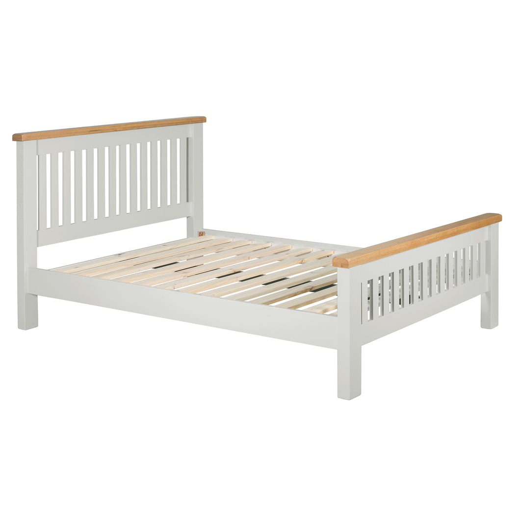 Cambridge Grey Painted Oak 4ft 6' Double Bed - Cambridge - HomePlus Furniture