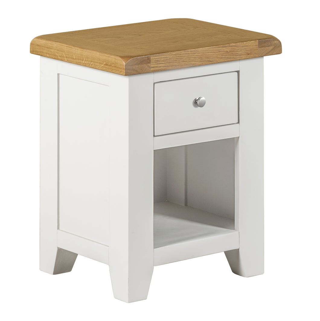 Cambridge White Painted Oak Small 1 Drawer Bedside - HomePlus Furniture