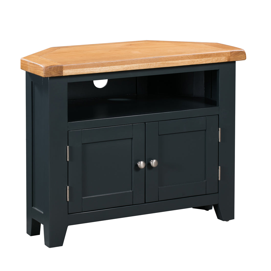 Cambridge Blue Painted Oak Corner TV Unit - Cambridge - HomePlus Furniture