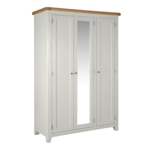 Cambridge Grey Painted Oak 3 Door Full Hanging Wardrobe - HomePlus Furniture