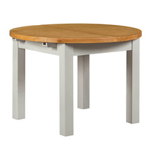Cambridge Grey Painted Oak Round Extending Dining Table (1.1 m-1.5 m) - HomePlus Furniture