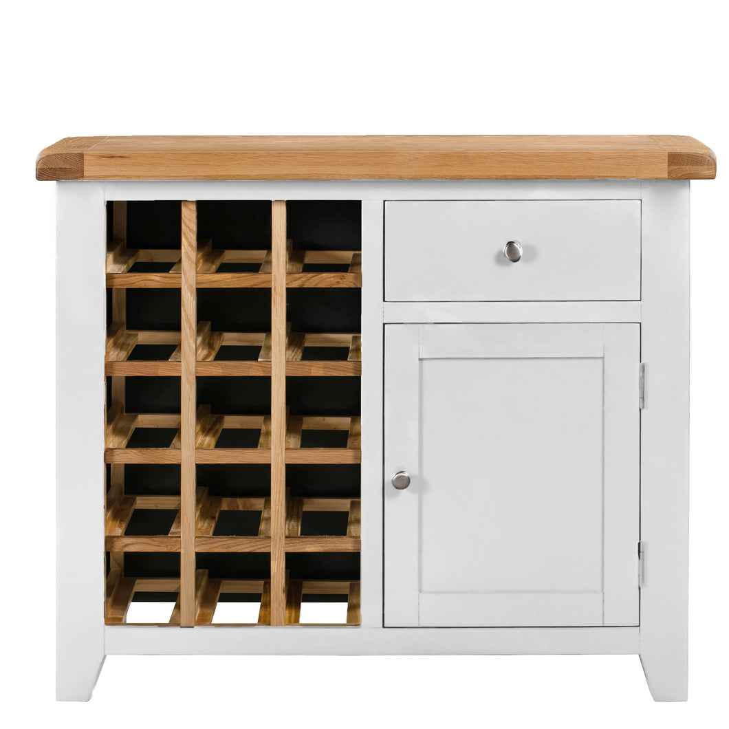 Cambridge White Painted Oak Small Wine Cabinet - HomePlus Furniture