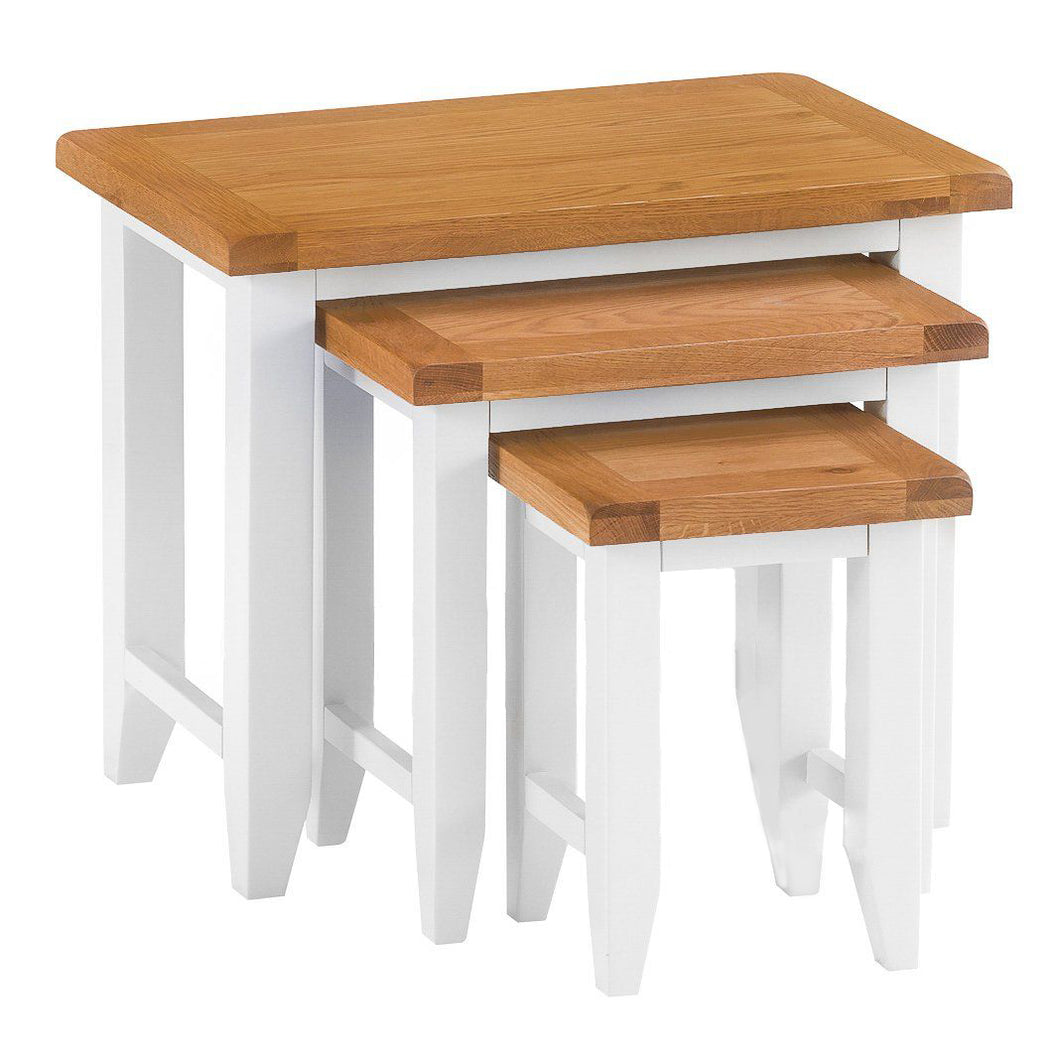 Cambridge White Painted Oak Nest of 3 Tables - HomePlus Furniture