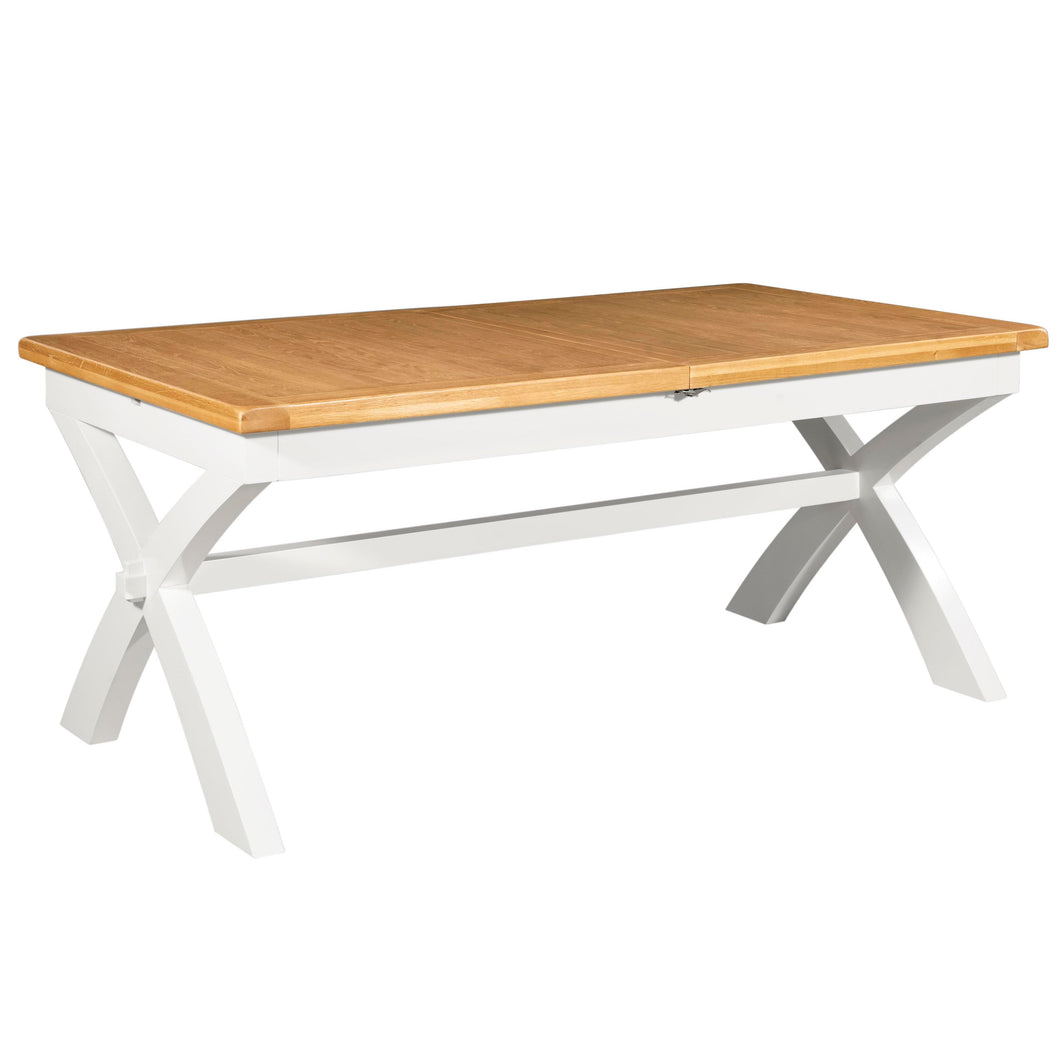 Cambridge White Painted Oak Extending Trestle Dining Table (1.8 m-2.3 m) - HomePlus Furniture