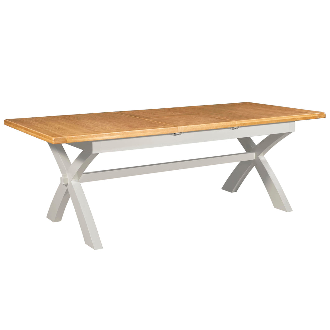 Cambridge Grey Painted Oak Extending Trestle Dining Table (1.8 m-2.3 m) - HomePlus Furniture