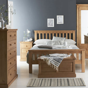 Wellington Pine 3 Drawer Bedside Table - HomePlus Furniture