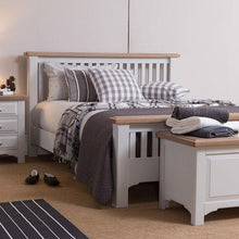 Georgia Grey Painted Oak 4ft 6' Double Bed - HomePlus Furniture