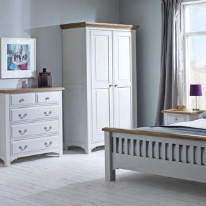 Georgia Grey Painted Oak 2 Door Full Hanging Wardrobe - HomePlus Furniture