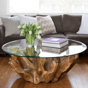 Teak Root Round Coffee Table - Natural Teak Root - HomePlus Furniture