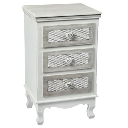 Brittany Three Drawer Bedside Cabinet
