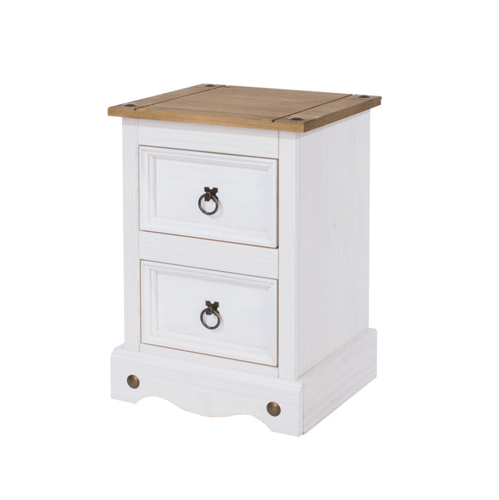 Corona Two Drawer Petite Bedside Cabinet
