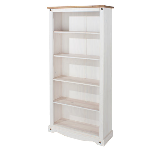 Corona White Tall Bookcase (with one fixed & three adjustable shelves)