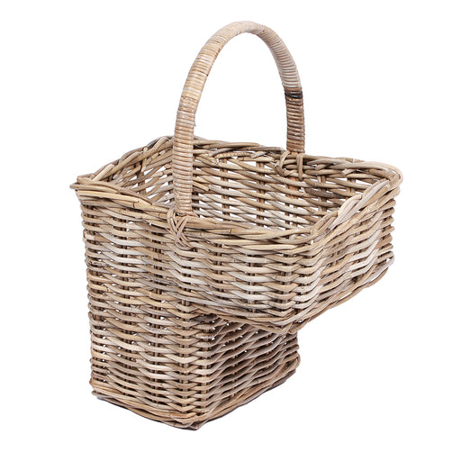 Wicker Step Basket with High Handle
