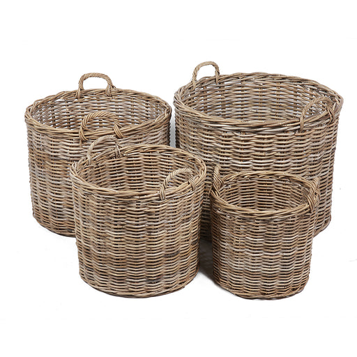Wicker Set of Four Round Baskets with Ear Handles