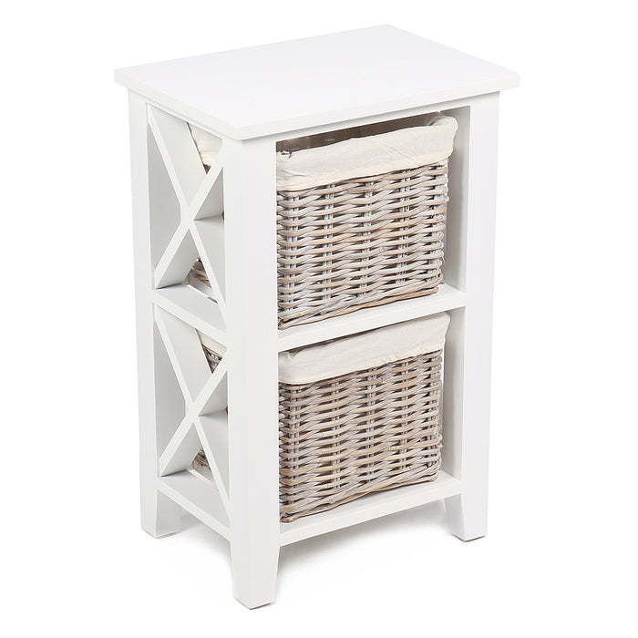 "Wicker Two Basket Vertical ""X"" Cabinet with Cotton Linings"