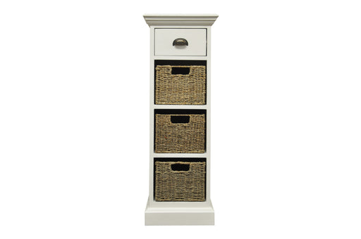 Wicker One Drawer Three Basket Unit