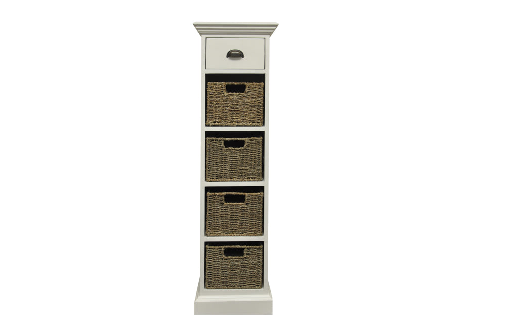 Wicker One Drawer Four Basket Unit