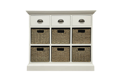 Wicker Three Drawer Six Basket Unit