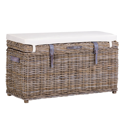 Wicker Rectangular Trunk Bench with Cushion, Leather Straps & Handles