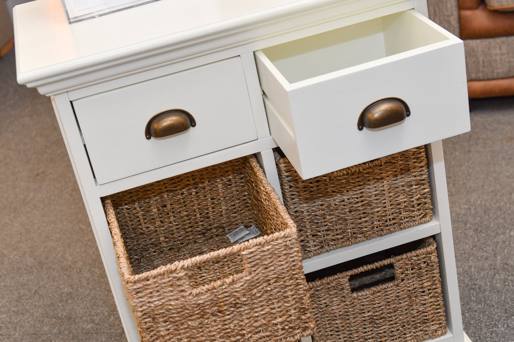 Wicker Two Drawer Four Basket Unit