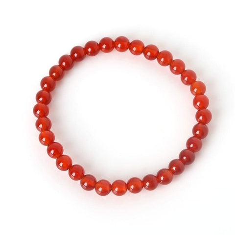 Bracelet en pierre d'agate rouge 6mm