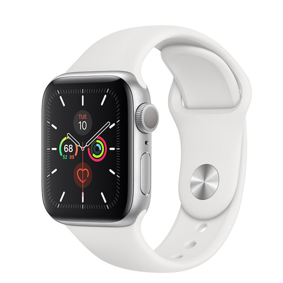 Apple Watch S5 GPS Silver Aluminum w/ Sport Band (White)
