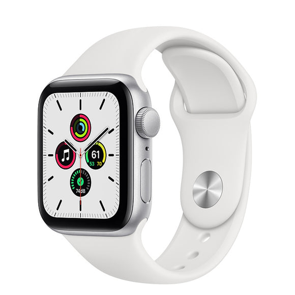 Apple Watch SE GPS Silver Aluminum w/ Sport Band (White)